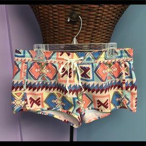Billabong Aztec Tribal Print Swim Coverup Shorts